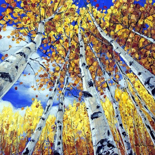 fine art painting, palette knife, artist Jennifer Vranes, tree painting, limited edition, giclee print, Beyond the Trees show