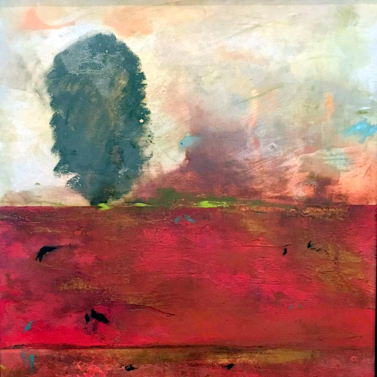 fine art painting, abstract landscape, oil painting, encaustic painting, Beyond the tree Everything, John Baughman, landscape