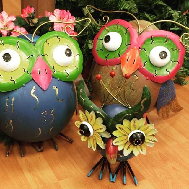 owl, whimsy, metal, garden statue, fall, fun
