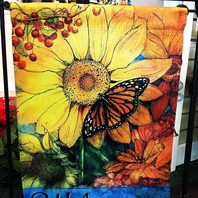garden flag, butterfly, welcome, sunflower, fall
