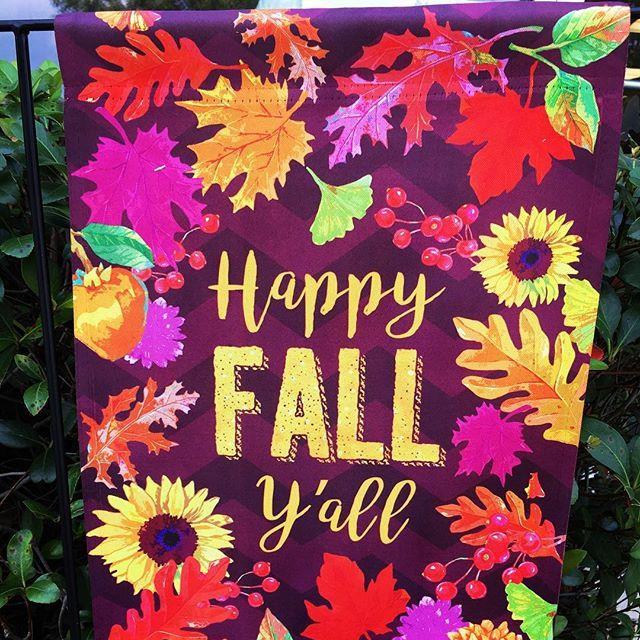garden flag, happy fall, leaves, sunflowers