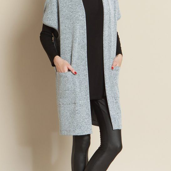 Heathered Sweater Pocket Vest Clara Sunwoo