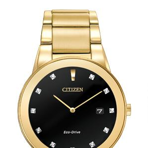 Citizen  AU1062-56G gold tone diamond dial dress watch