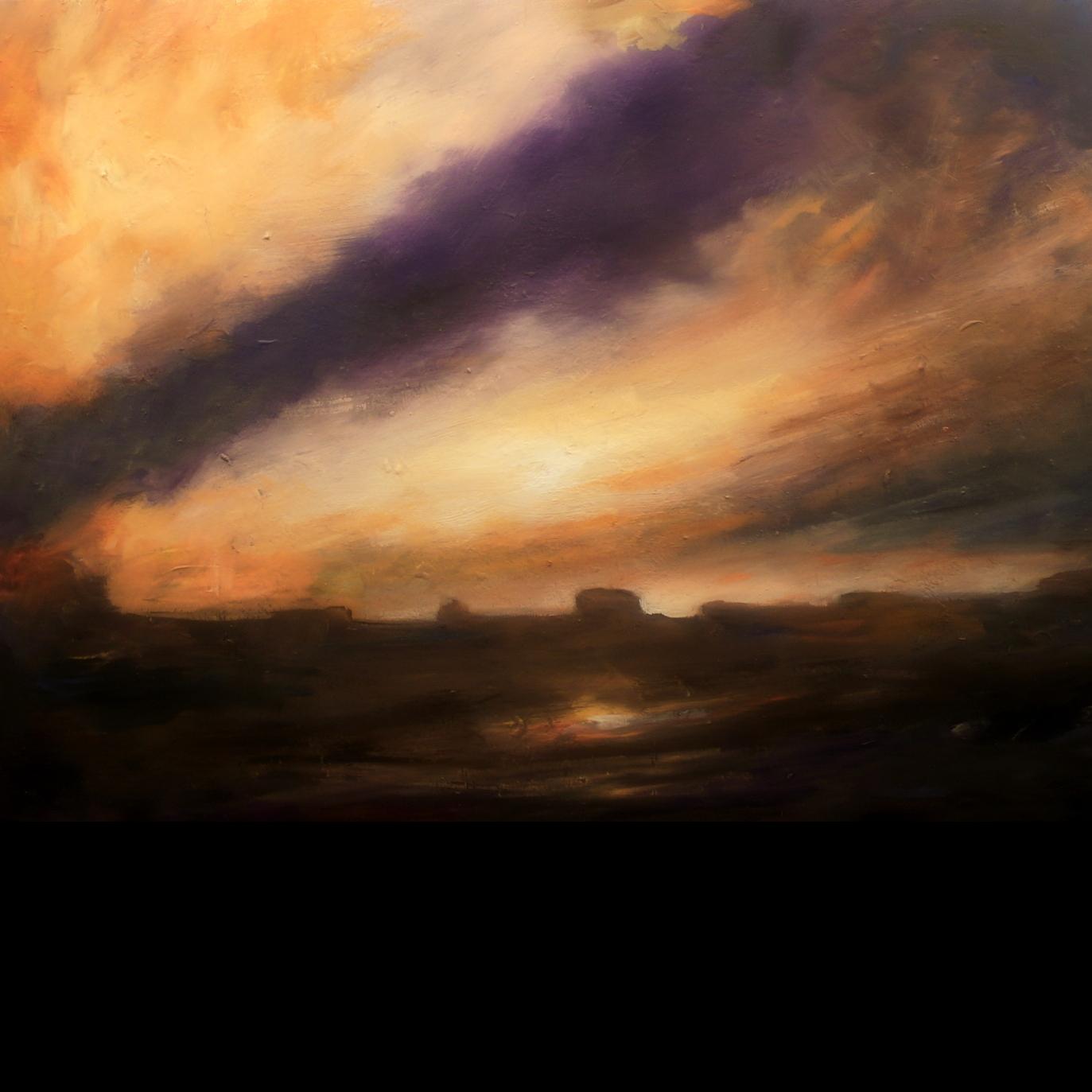 fine art painting, oil painting, artist Tobin Karicher, October Sky in Virginia, horse country, storm sky