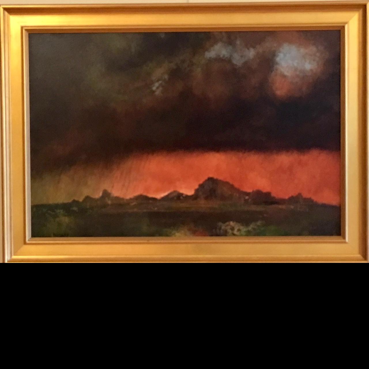 fine art painting, landscape, oil painting, Dust storm Zion, Utah, luminous painting,